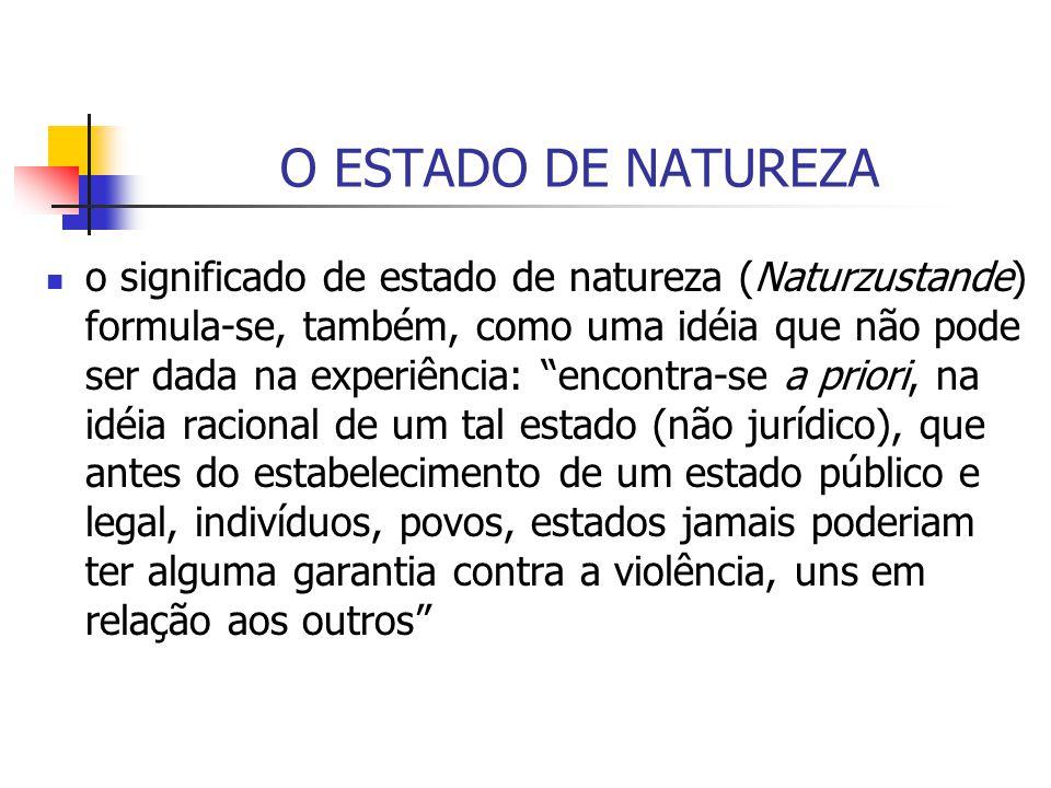 O ESTADO DE NATUREZA o significado de estado de natureza (Naturzustande) formula-se, também, como uma idéia que não pode ser dada na experiência: enco