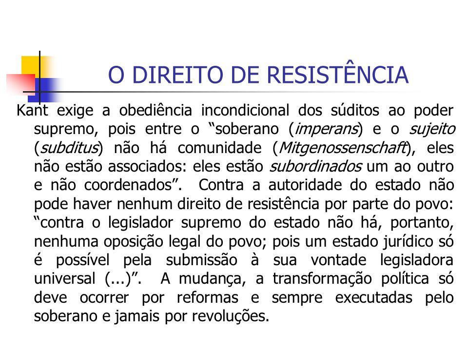 O DIREITO DE RESISTÊNCIA Kant exige a obediência incondicional dos súditos ao poder supremo, pois entre o soberano (imperans) e o sujeito (subditus) n