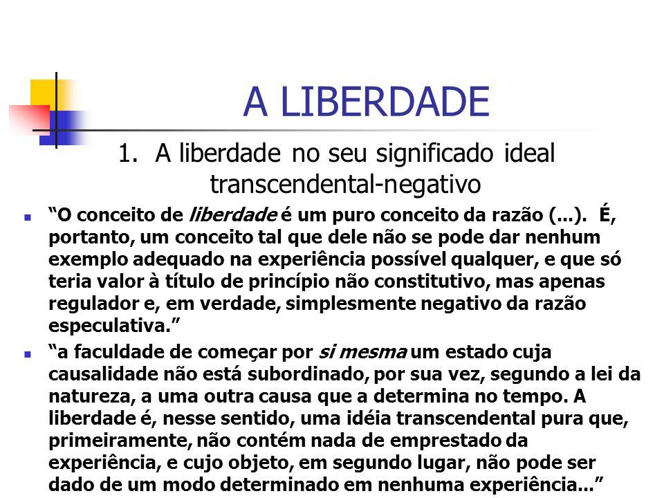 A LIBERDADE 1. A liberdade no seu significado ideal transcendental-negativo O conceito de liberdade é um puro conceito da razão (...). É, portanto, um