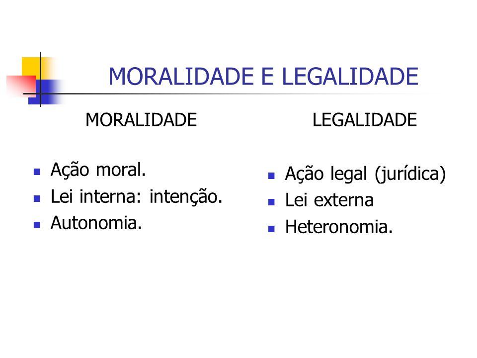 MORALIDADE E LEGALIDADE MORALIDADE Ação moral. Lei interna: intenção. Autonomia. LEGALIDADE Ação legal (jurídica) Lei externa Heteronomia.