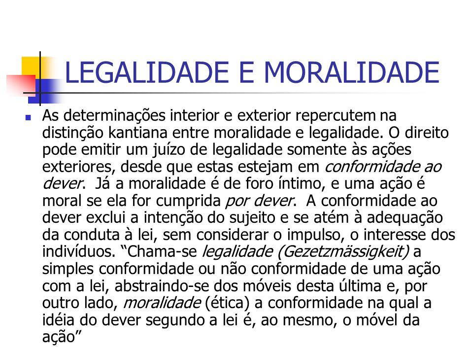 LEGALIDADE E MORALIDADE As determinações interior e exterior repercutem na distinção kantiana entre moralidade e legalidade. O direito pode emitir um
