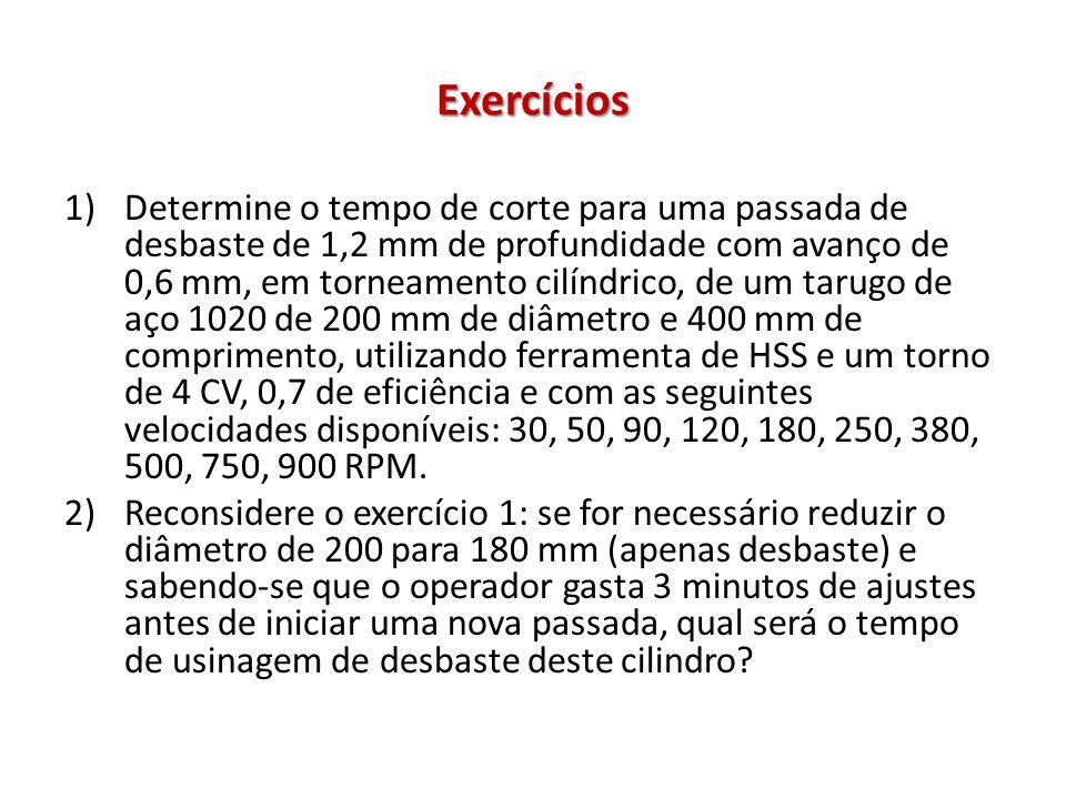 Exercícios 1)Determine o tempo de corte para uma passada de desbaste de 1,2 mm de profundidade com avanço de 0,6 mm, em torneamento cilíndrico, de um