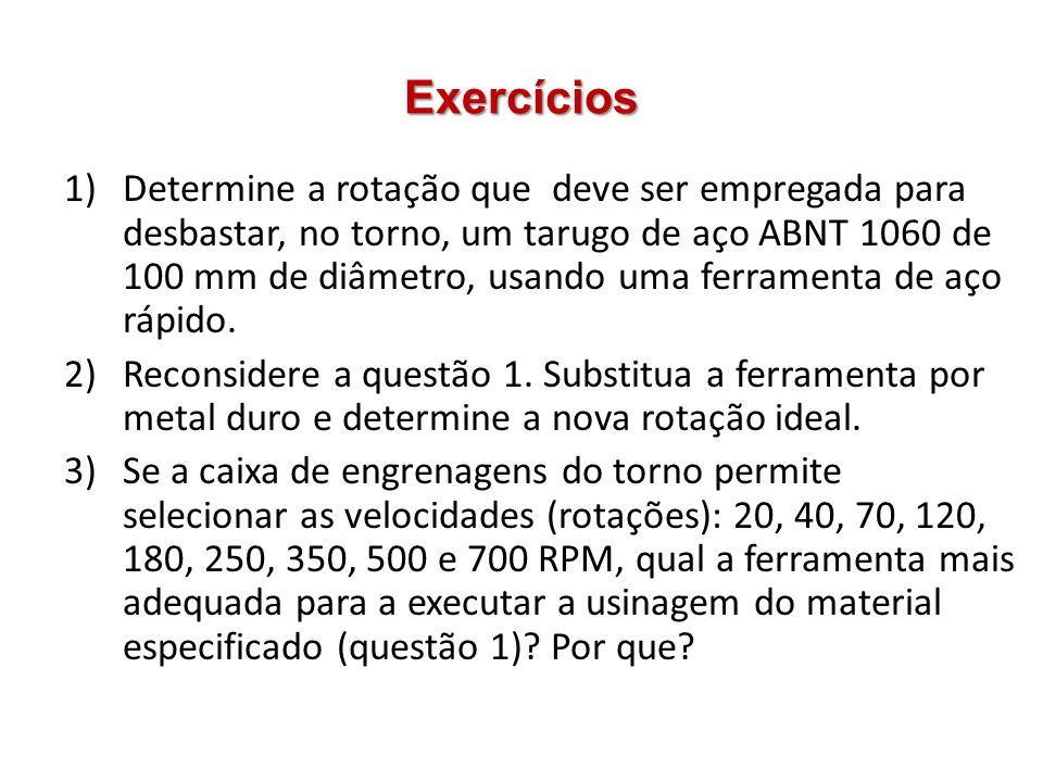 Exercícios 1)Determine a rotação que deve ser empregada para desbastar, no torno, um tarugo de aço ABNT 1060 de 100 mm de diâmetro, usando uma ferrame