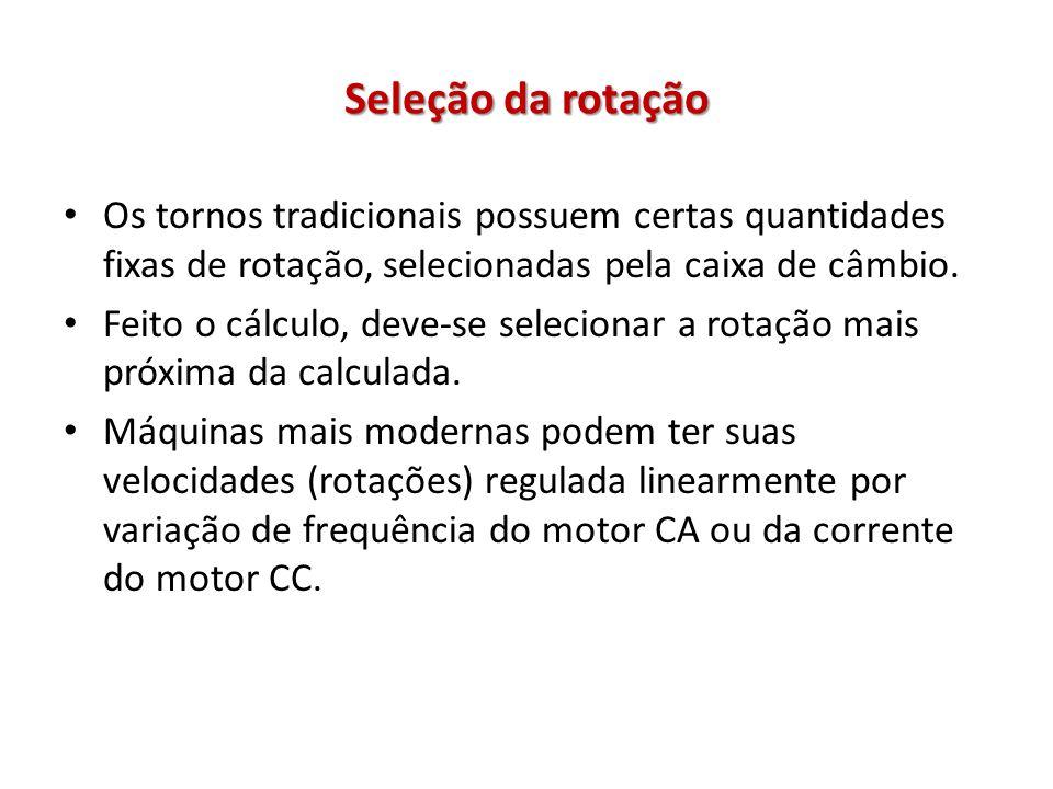 Seleção da rotação Os tornos tradicionais possuem certas quantidades fixas de rotação, selecionadas pela caixa de câmbio. Feito o cálculo, deve-se sel