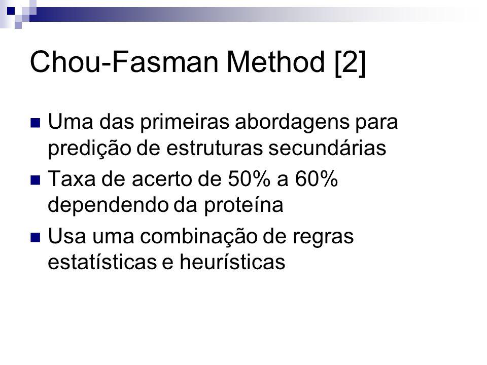 Chou-Fasman Method [2] Uma das primeiras abordagens para predição de estruturas secundárias Taxa de acerto de 50% a 60% dependendo da proteína Usa uma
