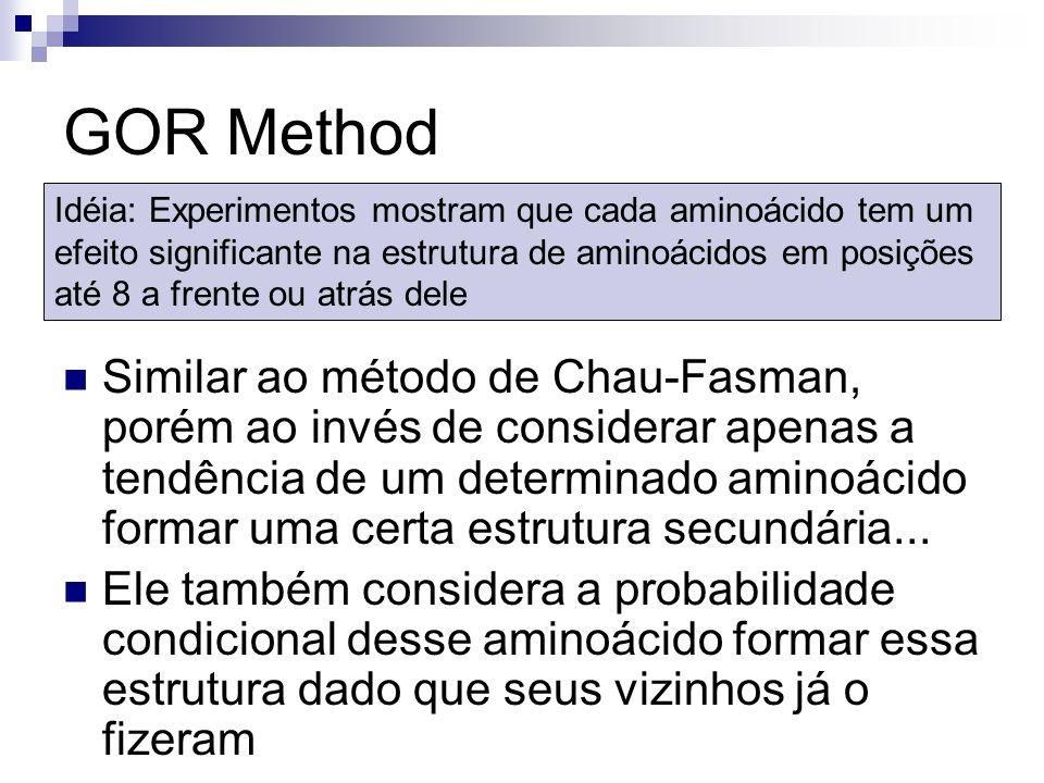 GOR Method Similar ao método de Chau-Fasman, porém ao invés de considerar apenas a tendência de um determinado aminoácido formar uma certa estrutura s