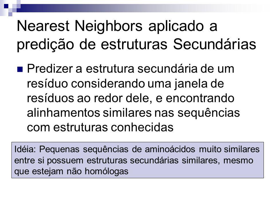 Nearest Neighbors aplicado a predição de estruturas Secundárias Predizer a estrutura secundária de um resíduo considerando uma janela de resíduos ao r