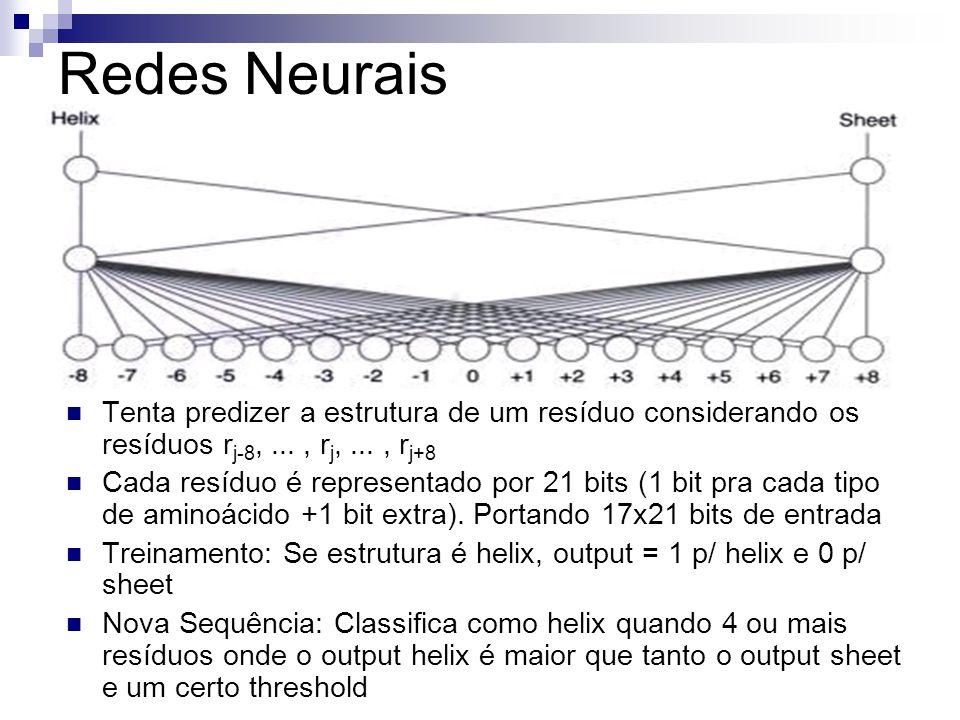 Redes Neurais Tenta predizer a estrutura de um resíduo considerando os resíduos r j-8,..., r j,..., r j+8 Cada resíduo é representado por 21 bits (1 b