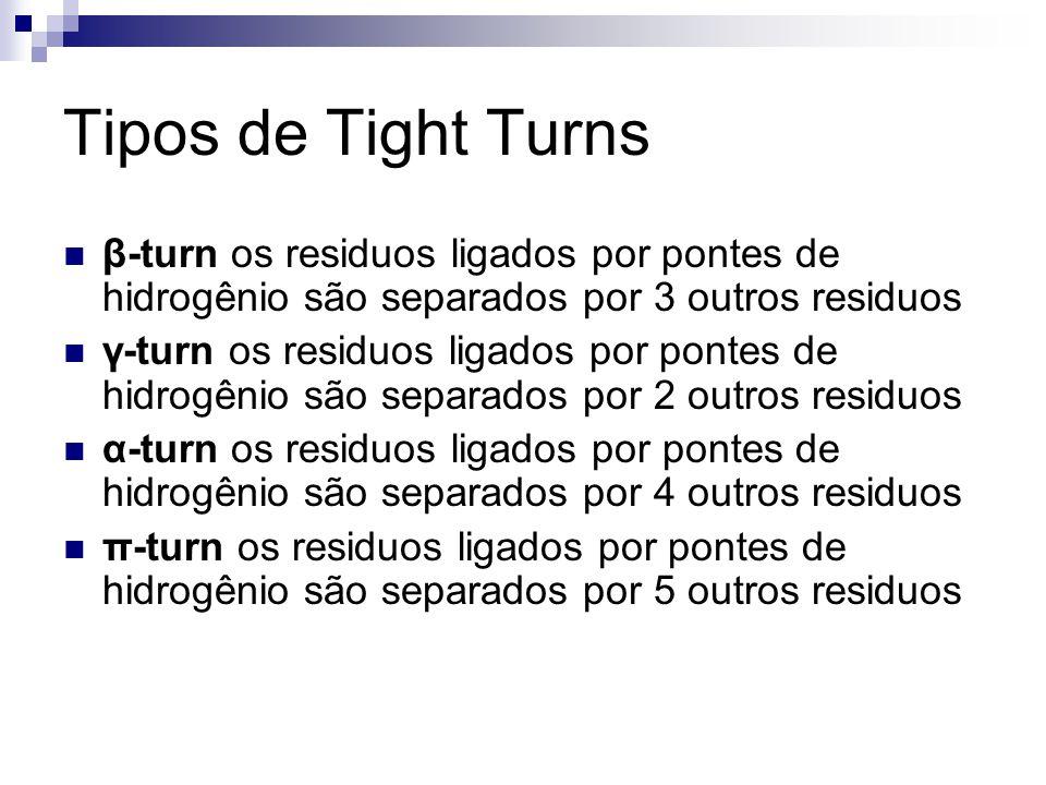 Tipos de Tight Turns β-turn os residuos ligados por pontes de hidrogênio são separados por 3 outros residuos γ-turn os residuos ligados por pontes de