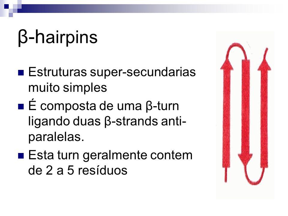 Estruturas super-secundarias muito simples É composta de uma β-turn ligando duas β-strands anti- paralelas. Esta turn geralmente contem de 2 a 5 resíd