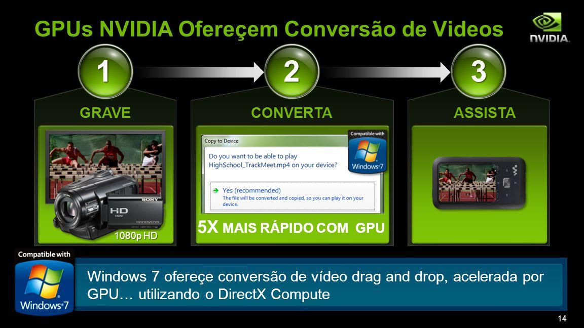 ASSISTA 3 5X MAIS RÁPIDO COM GPU CONVERTA 2 1080p HD 1 GRAVE GPUs NVIDIA Ofereçem Conversão de Videos Windows 7 ofereçe conversão de vídeo drag and drop, acelerada por GPU… utilizando o DirectX Compute 14