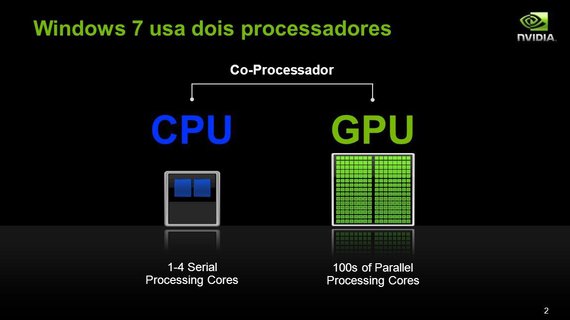 Windows 7 usa dois processadores 2 1-4 Serial Processing Cores 100s of Parallel Processing Cores CPUGPU Co-Processador