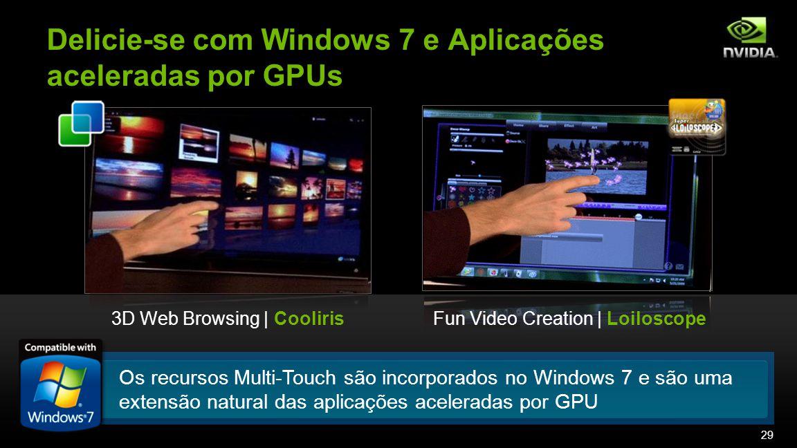 Os recursos Multi-Touch são incorporados no Windows 7 e são uma extensão natural das aplicações aceleradas por GPU Delicie-se com Windows 7 e Aplicações aceleradas por GPUs 3D Web Browsing | CoolirisFun Video Creation | Loiloscope 29