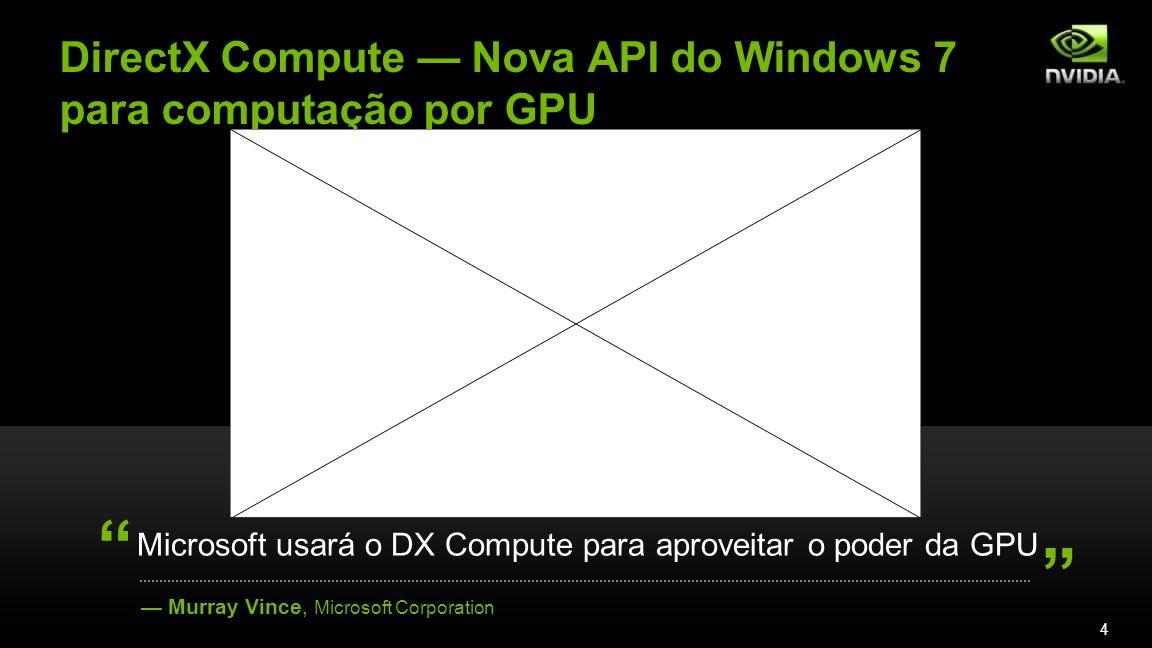 DirectX Compute Nova API do Windows 7 para computação por GPU Murray Vince, Microsoft Corporation Microsoft usará o DX Compute para aproveitar o poder da GPU 4