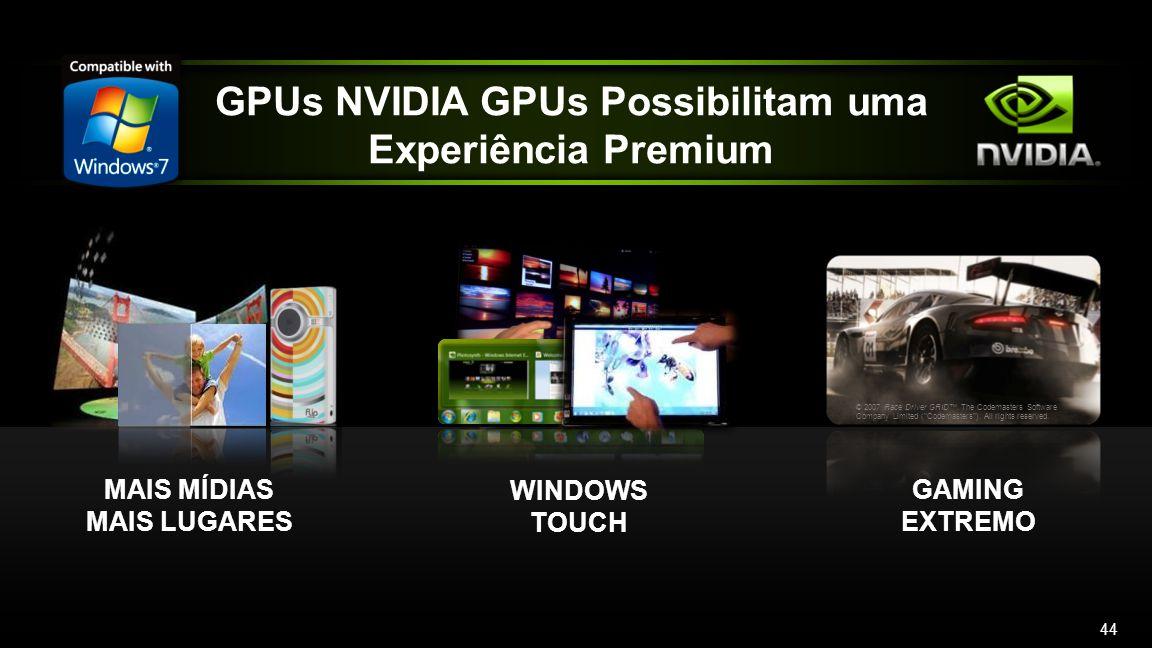 NVIDIA GPUs Provide a Premium Windows 7 Experience GPUs NVIDIA GPUs Possibilitam uma Experiência Premium MAIS MÍDIAS MAIS LUGARES WINDOWS TOUCH © 2007 Race Driver GRID.