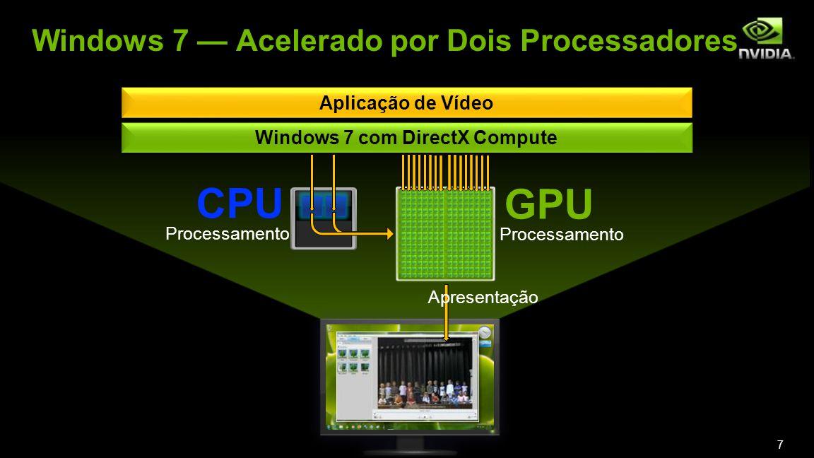 Aplicação de Vídeo Windows 7 com DirectX Compute CPU GPU Processamento Apresentação 7 Windows 7 Acelerado por Dois Processadores