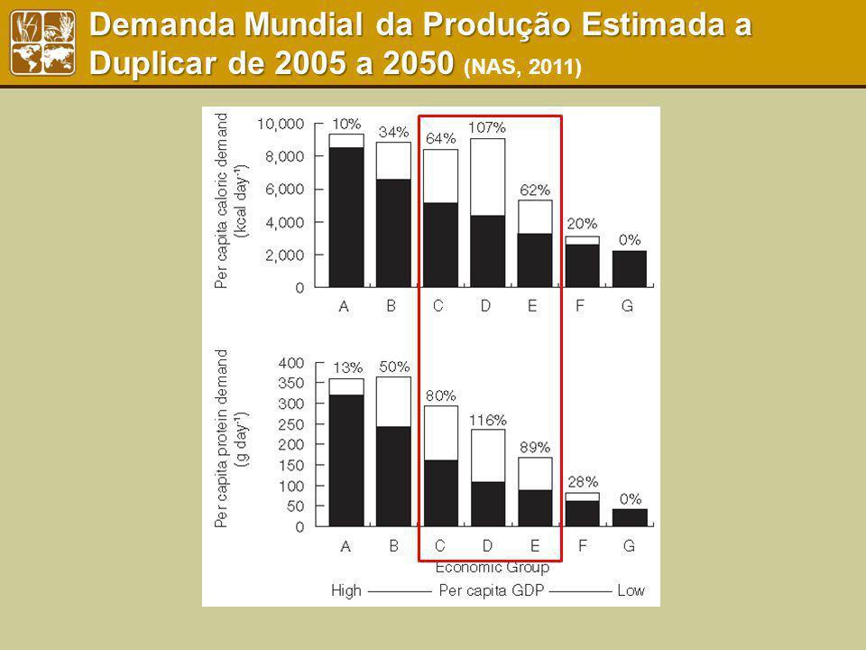 Demanda Mundial da Produção Estimada a Duplicar de 2005 a 2050 Demanda Mundial da Produção Estimada a Duplicar de 2005 a 2050 (NAS, 2011)