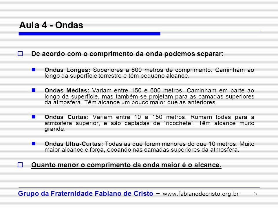 Grupo da Fraternidade Fabiano de Cristo – www.fabianodecristo.org.br 5 Aula 4 - Ondas De acordo com o comprimento da onda podemos separar: Ondas Longa
