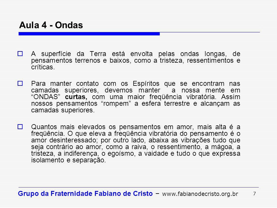 Grupo da Fraternidade Fabiano de Cristo – www.fabianodecristo.org.br 8 Aula 4 – Sintonia Sintonia: ocorre quando ondas de mesma frequência se encontram.
