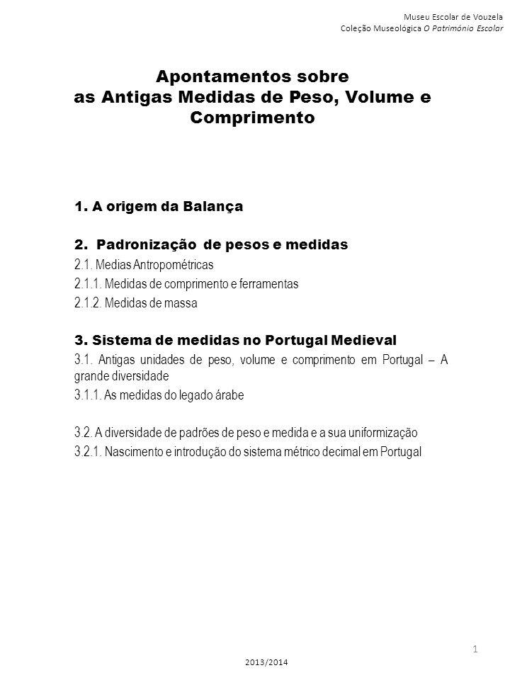 Apontamentos sobre as Antigas Medidas de Peso, Volume e Comprimento 1. A origem da Balança 2. Padronização de pesos e medidas 2.1. Medias Antropométri