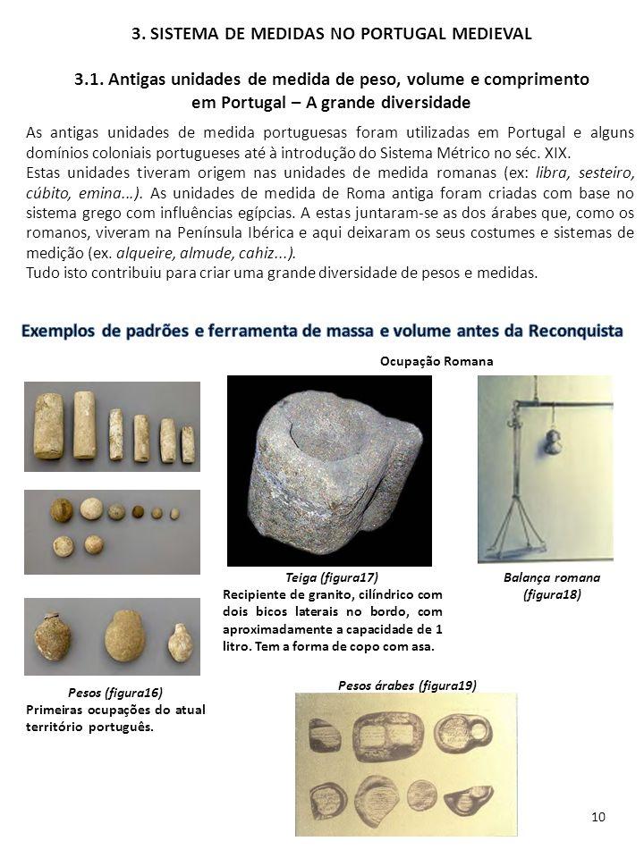 3. SISTEMA DE MEDIDAS NO PORTUGAL MEDIEVAL 3.1. Antigas unidades de medida de peso, volume e comprimento em Portugal – A grande diversidade As antigas