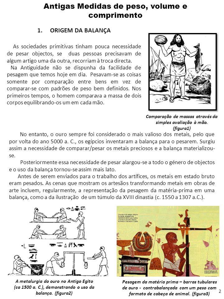 Antigas Medidas de peso, volume e comprimento 1. ORIGEM DA BALANÇA As sociedades primitivas tinham pouca necessidade de pesar objectos, se duas pessoa