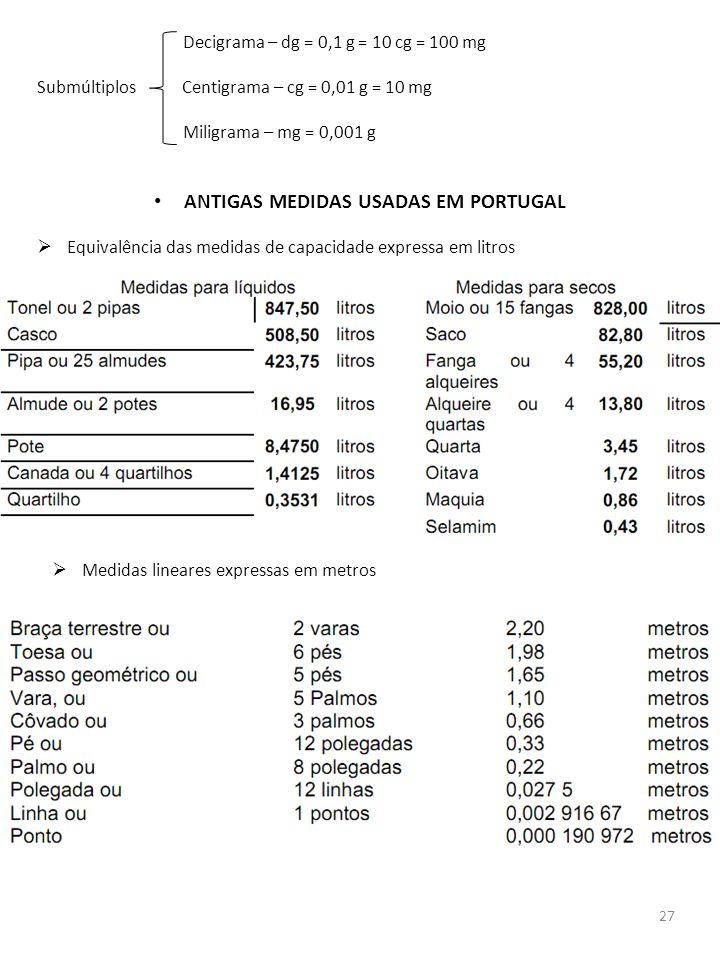 27 Decigrama – dg = 0,1 g = 10 cg = 100 mg Submúltiplos Centigrama – cg = 0,01 g = 10 mg Miligrama – mg = 0,001 g ANTIGAS MEDIDAS USADAS EM PORTUGAL E