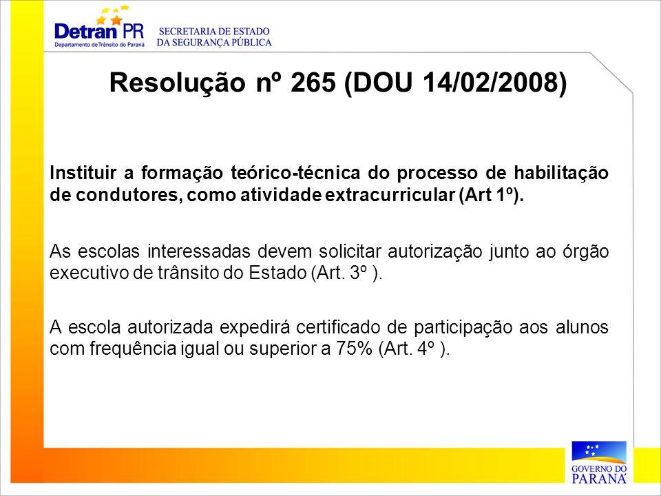 Instituir a formação teórico-técnica do processo de habilitação de condutores, como atividade extracurricular (Art 1º). As escolas interessadas devem