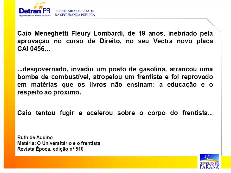 Caio Meneghetti Fleury Lombardi, de 19 anos, inebriado pela aprovação no curso de Direito, no seu Vectra novo placa CAI 0456......desgovernado, invadi