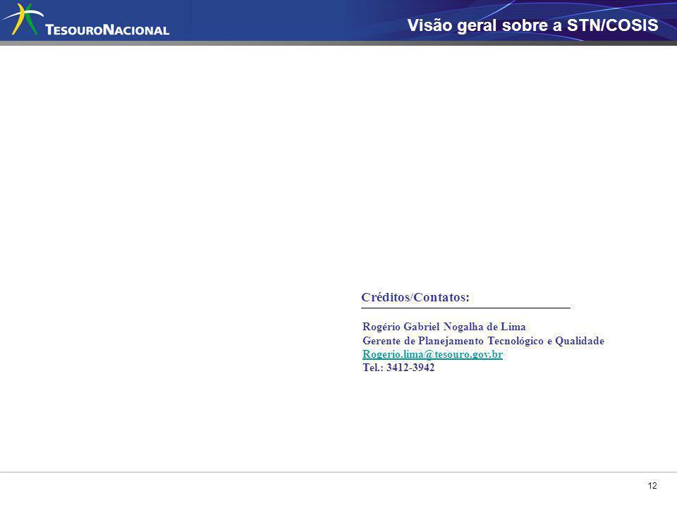 12 Visão geral sobre a STN/COSIS Rogério Gabriel Nogalha de Lima Gerente de Planejamento Tecnológico e Qualidade Rogerio.lima@tesouro.gov.br Tel.: 341