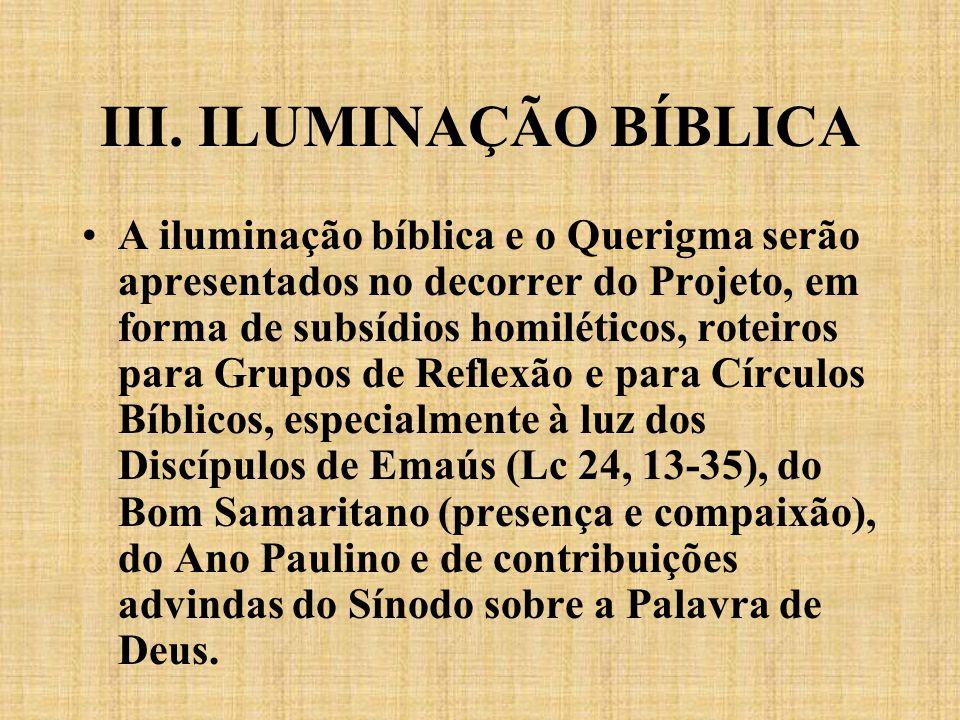 III. ILUMINAÇÃO BÍBLICA A iluminação bíblica e o Querigma serão apresentados no decorrer do Projeto, em forma de subsídios homiléticos, roteiros para