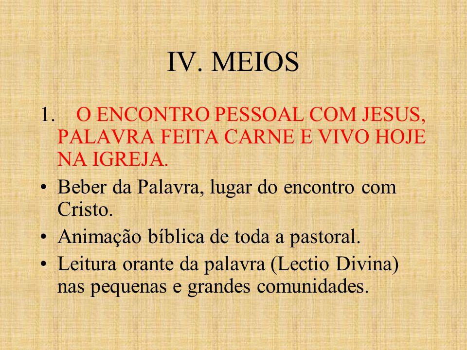IV. MEIOS 1. O ENCONTRO PESSOAL COM JESUS, PALAVRA FEITA CARNE E VIVO HOJE NA IGREJA. Beber da Palavra, lugar do encontro com Cristo. Animação bíblica