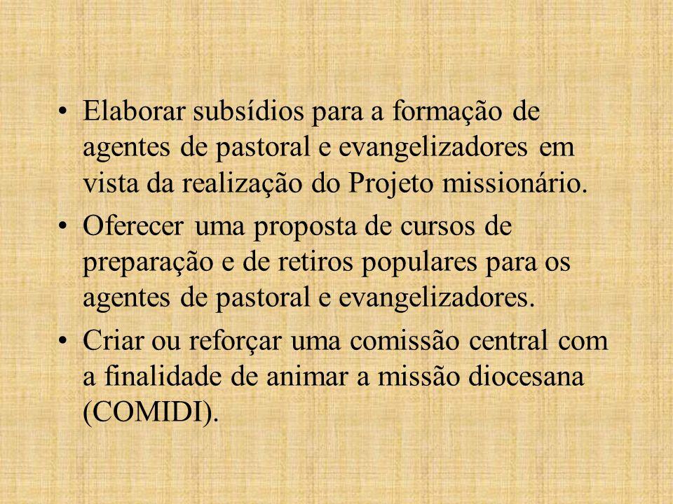 Elaborar subsídios para a formação de agentes de pastoral e evangelizadores em vista da realização do Projeto missionário. Oferecer uma proposta de cu