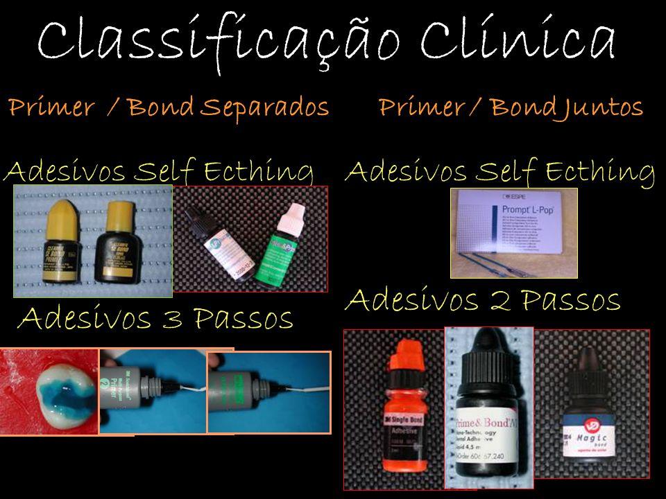 Classificação Clínica Adesivos Self Ecthing Adesivos 3 Passos Primer / Bond Separados Adesivos Self Ecthing Primer / Bond Juntos Adesivos 2 Passos