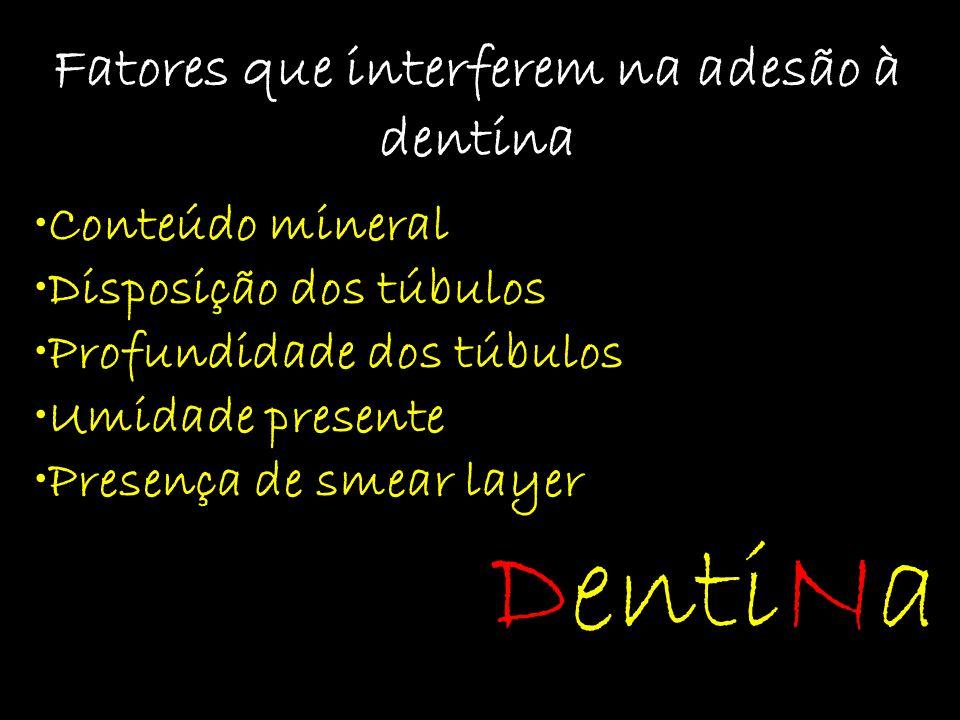 Fatores que interferem na adesão à dentina Conteúdo mineral Disposição dos túbulos Profundidade dos túbulos Umidade presente Presença de smear layer D