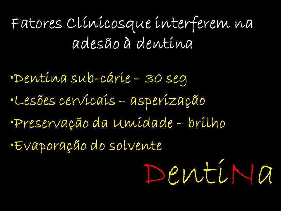 Fatores Clínicosque interferem na adesão à dentina Dentina sub-cárie – 30 seg Lesões cervicais – asperização Preservação da Umidade – brilho Evaporaçã