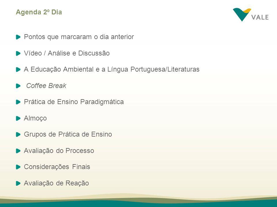 Agenda 2º Dia Pontos que marcaram o dia anterior Vídeo / Análise e Discussão A Educação Ambiental e a Língua Portuguesa/Literaturas Coffee Break Práti