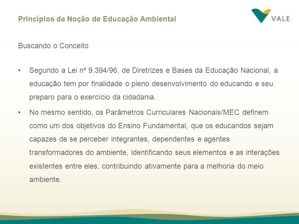 Princípios da Noção de Educação Ambiental Buscando o Conceito Segundo a Lei nº 9.394/96, de Diretrizes e Bases da Educação Nacional, a educação tem po