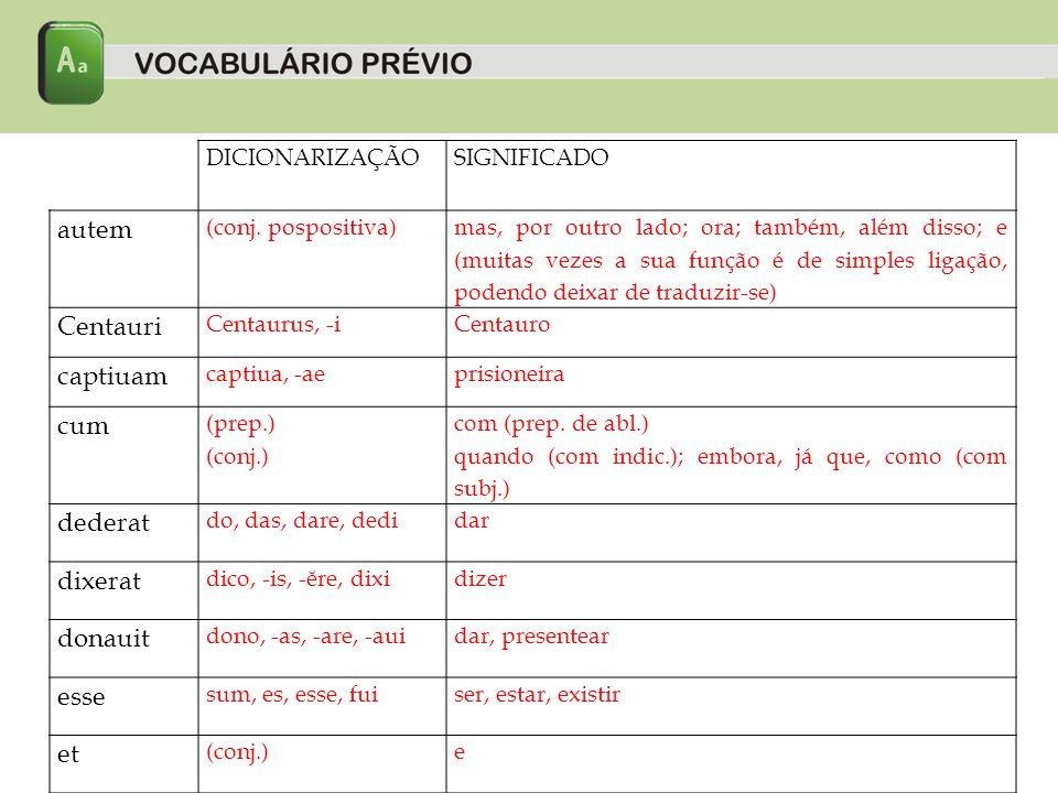 DICIONARIZAÇÃOSIGNIFICADO famulum famulus, -iescravo filia filia, -aefilha filius filius, -iifilho flumen flumen, -inis (n)rio Herculis/Herculi /Hercules Hercules, -is (m)Hércules iam (adv.)já in (prep.) em (com ablativo); para, até (com acusativo) interfecit interficio, -is, -ĕre, -fecimatar, assassinar
