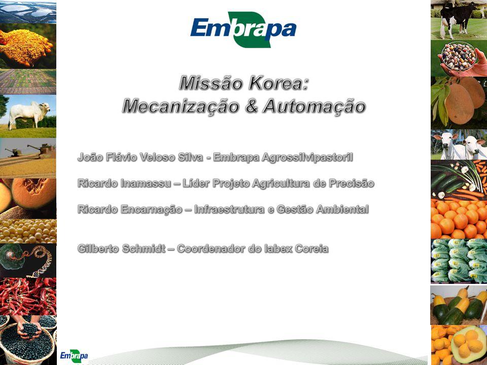 Obter informações sobre máquinas agrícolas e implementos fabricados na Coreia, bem como sobre processos de automação, que possam auxiliar na orientação de projeto corporativo voltado à mecanização e automação dos nossos Campos Experimentais Objetivo