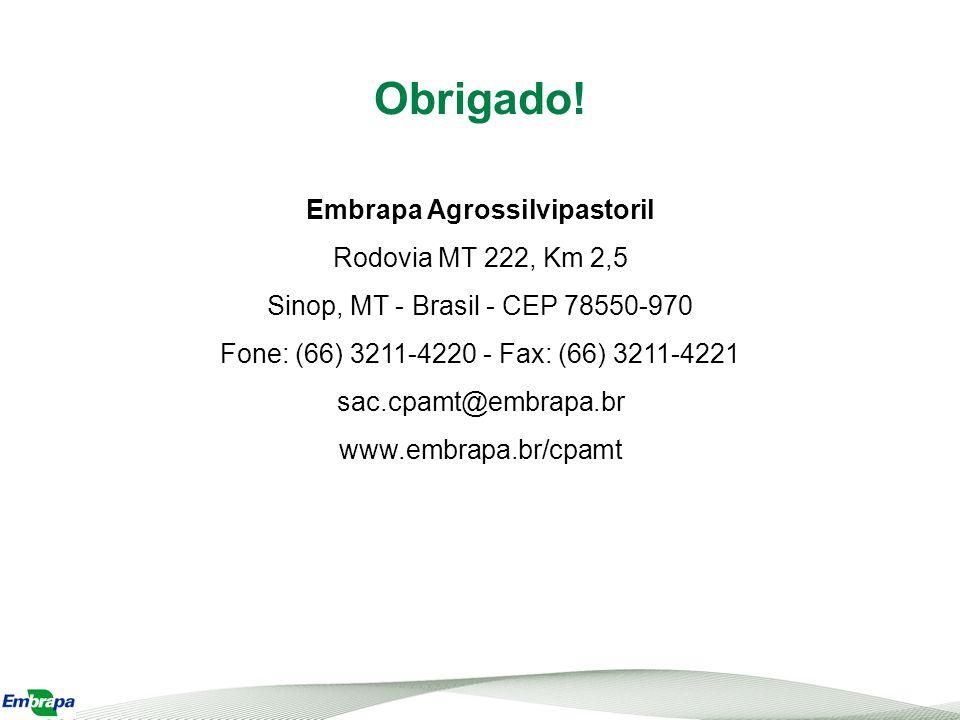 Obrigado! Embrapa Agrossilvipastoril Rodovia MT 222, Km 2,5 Sinop, MT - Brasil - CEP 78550-970 Fone: (66) 3211-4220 - Fax: (66) 3211-4221 sac.cpamt@em