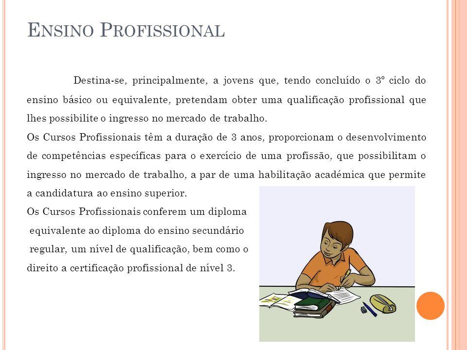 E NSINO P ROFISSIONAL Destina-se, principalmente, a jovens que, tendo concluído o 3º ciclo do ensino básico ou equivalente, pretendam obter uma qualificação profissional que lhes possibilite o ingresso no mercado de trabalho.