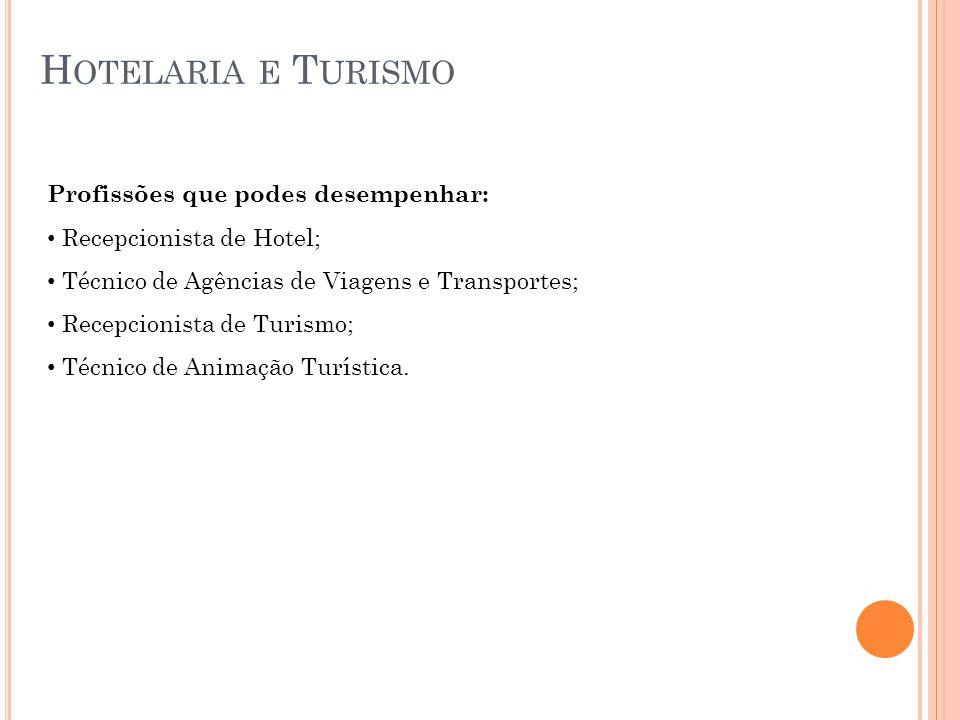 H OTELARIA E T URISMO Profissões que podes desempenhar: Recepcionista de Hotel; Técnico de Agências de Viagens e Transportes; Recepcionista de Turismo; Técnico de Animação Turística.