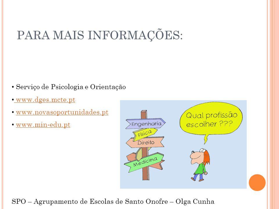 PARA MAIS INFORMAÇÕES: Serviço de Psicologia e Orientação www.dges.mcte.pt www.dges.mcte.pt www.novasoportunidades.pt www.min-edu.pt SPO – Agrupamento de Escolas de Santo Onofre – Olga Cunha