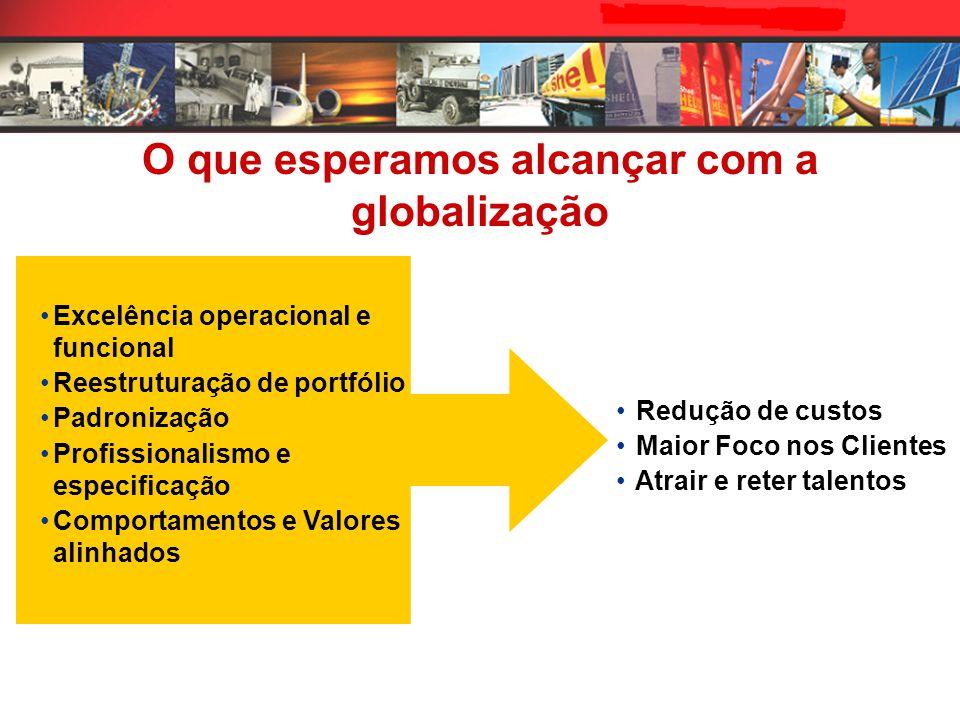 O que esperamos alcançar com a globalização Excelência operacional e funcional Reestruturação de portfólio Padronização Profissionalismo e especificaç