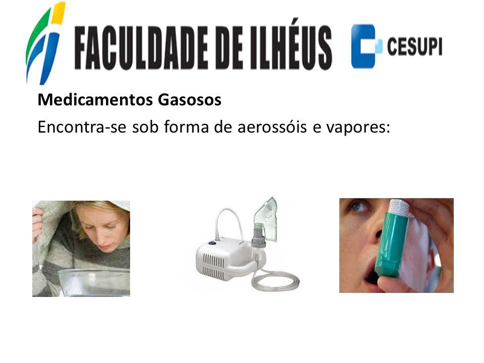 Medicamentos Gasosos Encontra-se sob forma de aerossóis e vapores: