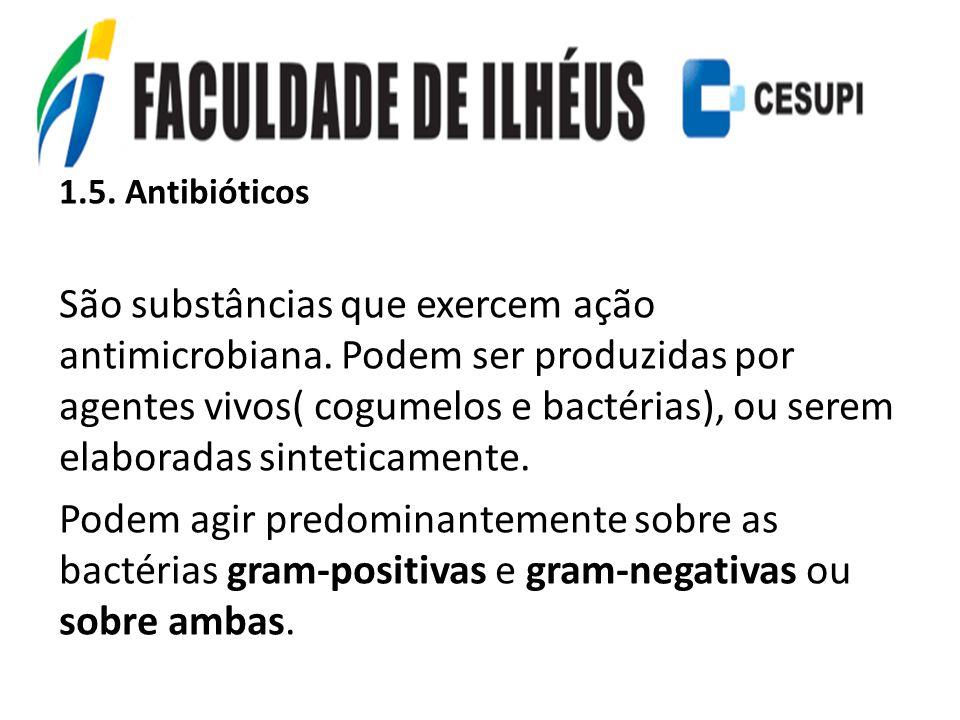 1.5. Antibióticos São substâncias que exercem ação antimicrobiana. Podem ser produzidas por agentes vivos( cogumelos e bactérias), ou serem elaboradas