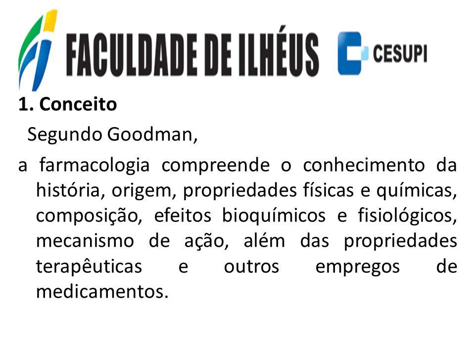 1. Conceito Segundo Goodman, a farmacologia compreende o conhecimento da história, origem, propriedades físicas e químicas, composição, efeitos bioquí