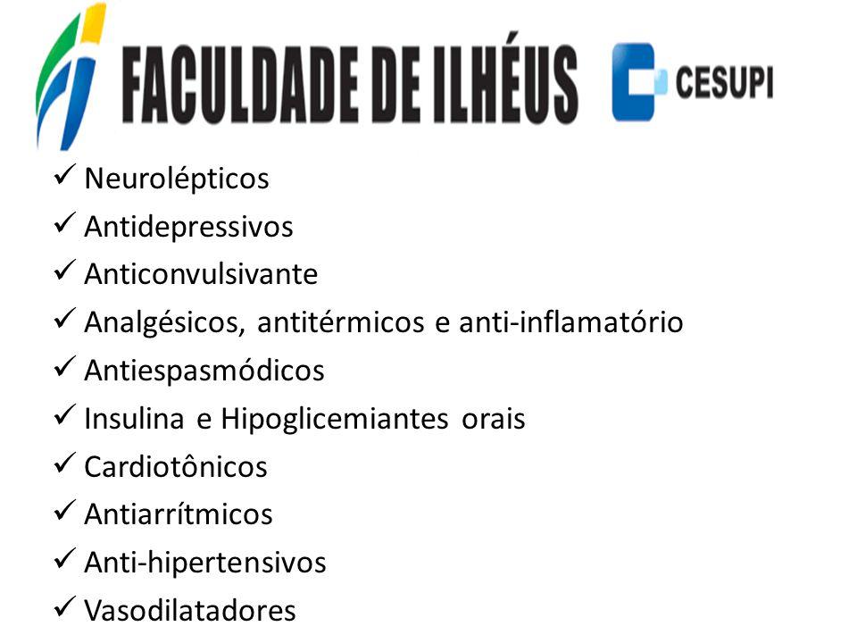 Neurolépticos Antidepressivos Anticonvulsivante Analgésicos, antitérmicos e anti-inflamatório Antiespasmódicos Insulina e Hipoglicemiantes orais Cardi