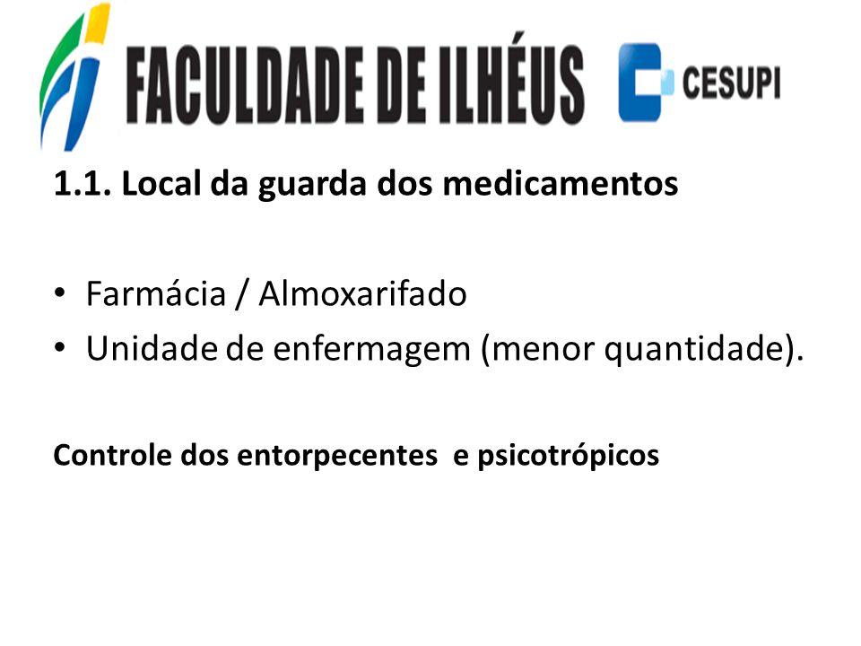 1.1. Local da guarda dos medicamentos Farmácia / Almoxarifado Unidade de enfermagem (menor quantidade). Controle dos entorpecentes e psicotrópicos